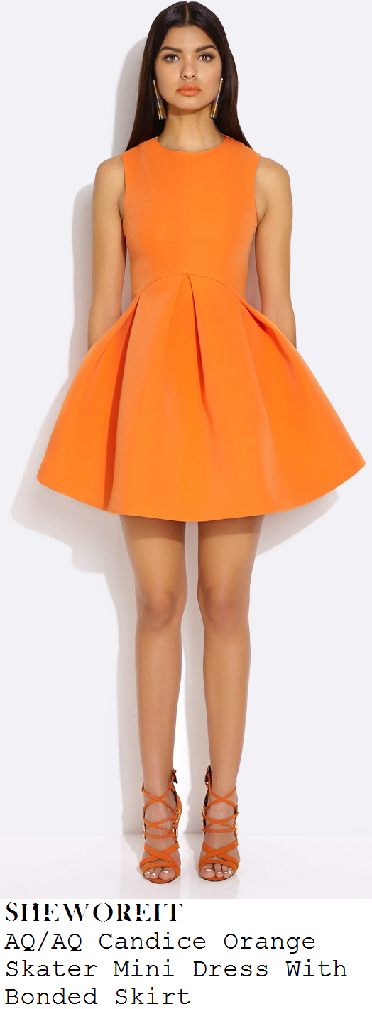 chloe-sims-bright-neon-orange-sleeveless-full-pleated-skirt-skater-mini-dress-celeb-juice