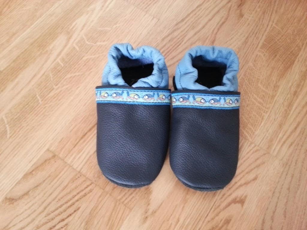 Dunkel-blau und hellblaue Lederpuschen für Kinder (Lederscheune)