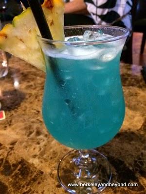Blue Crush coctail at Mediterranean Gourment Restaurant at Hanalei Colony Resort in Haena, Kauai, Hawaii