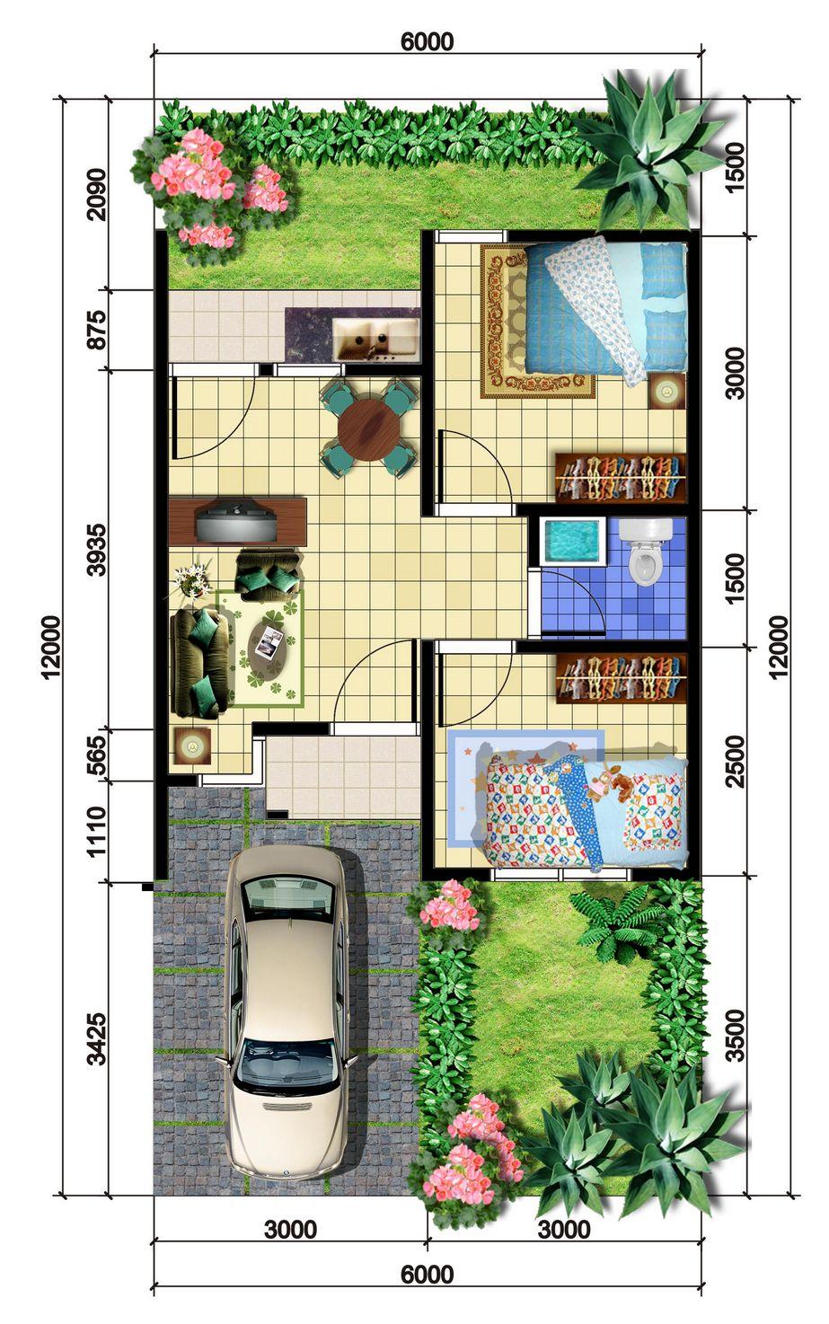 desain denah rumah tipe 36 terbaru