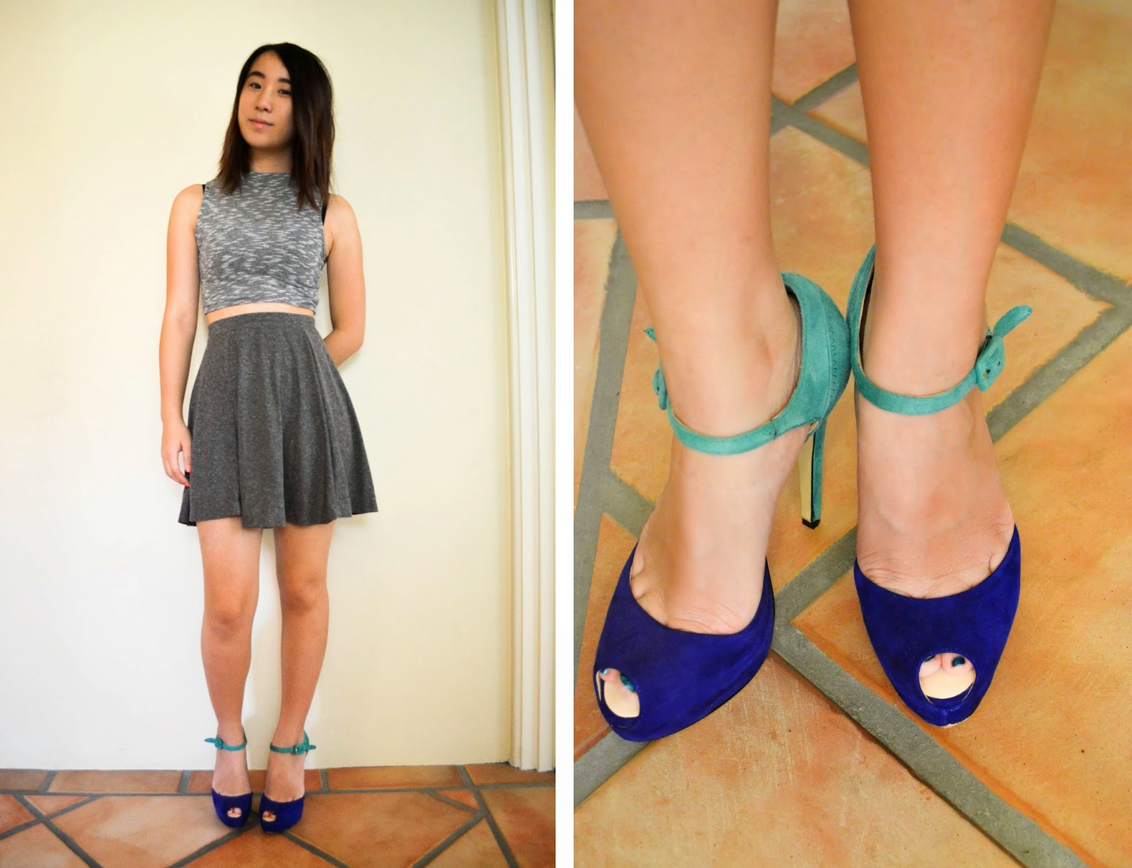 skater skirt how to style crop top wayne cooper heels shoes blue grey topshop urban outfitters strappy