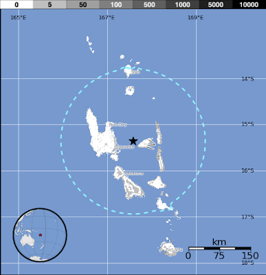 Epicentro sismo 6,2 grados Islas Vanuatu, 26 de Julio 2013