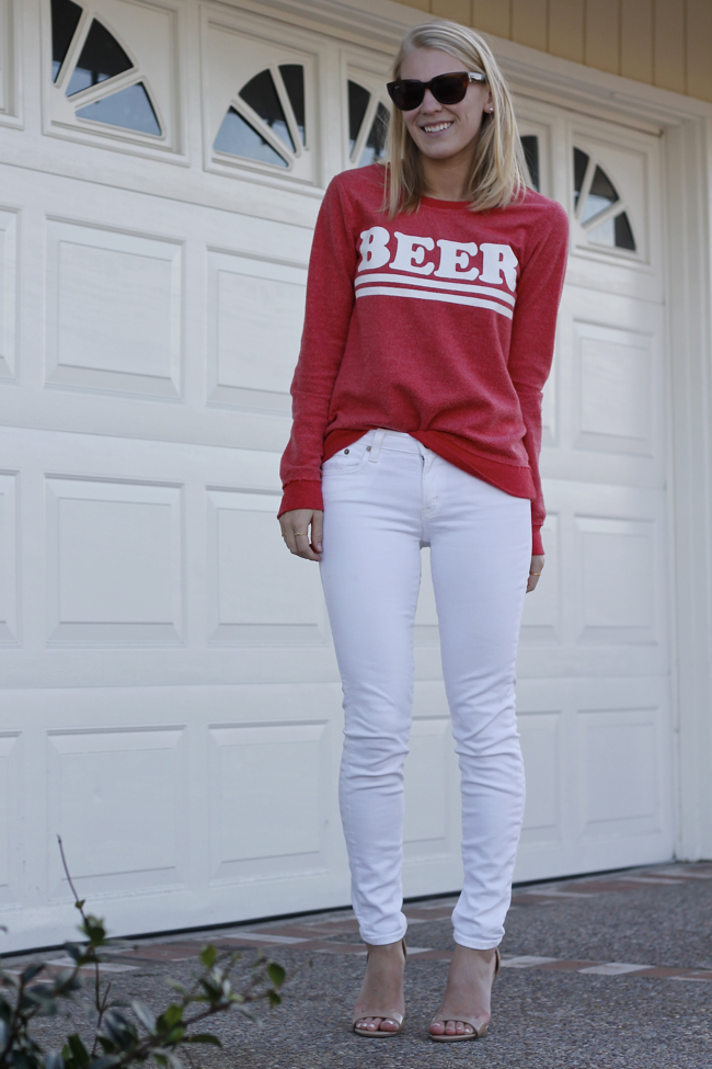 Shae Roderick, outfit, blogger, Orange County, beer, sweatshirt, white, jeans