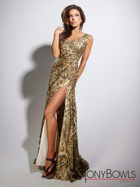 Леопардова рокля с шлейф за бал 2014