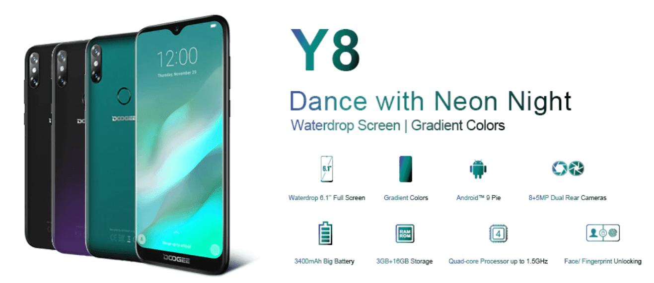 DOOGEE Y8 - Cel mai bun la 79$, Android 9.0, 6.1 inch, 3GB RAM cumpără de pe Aliexpress cu livrare în Moldova și Romania! Telefon modern până la 80$