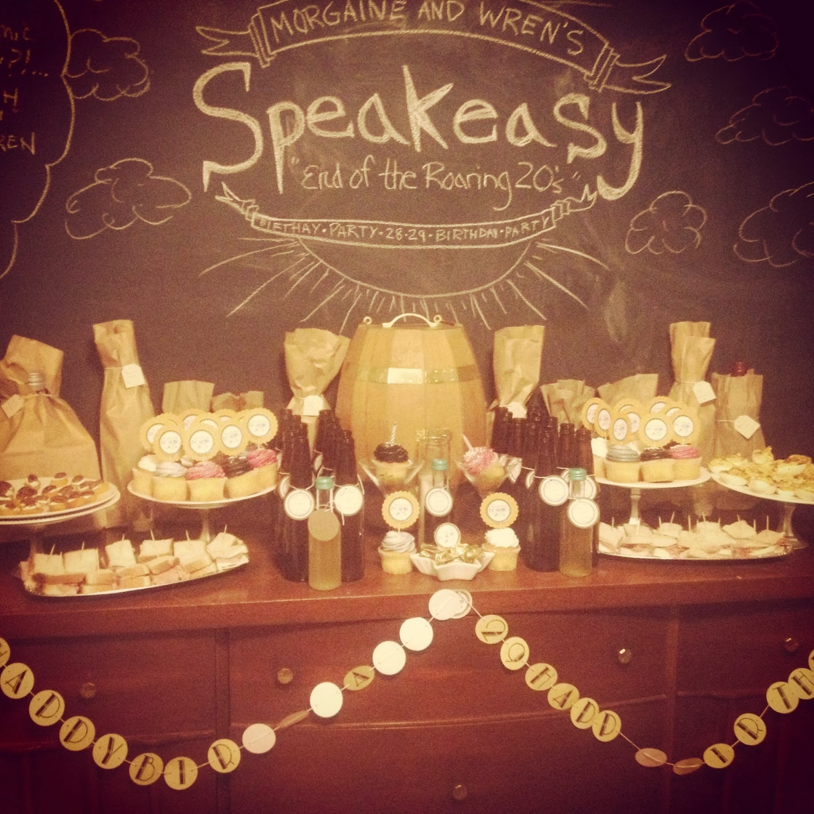 End of the Roaring 20s Speakeasy Birthday Party decor and food