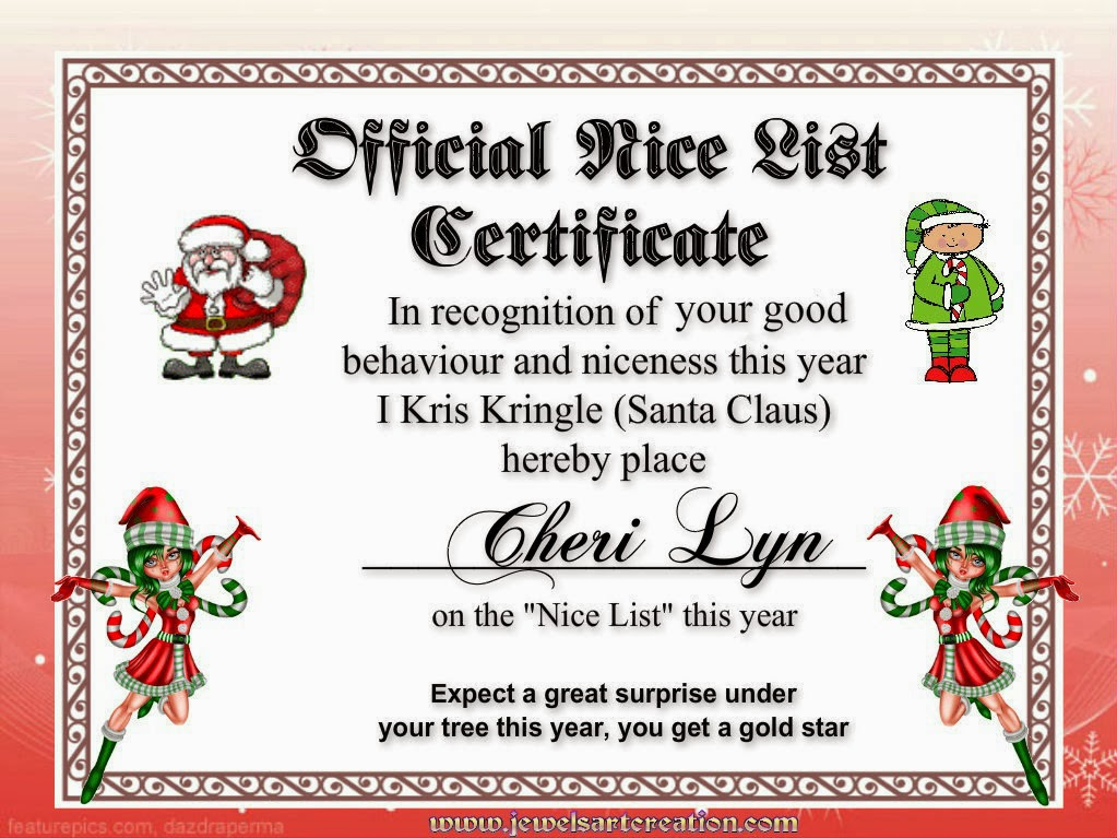 Santa Good List Certificate | Search Results | Calendar 2015