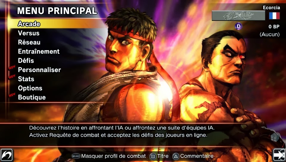 menu Street Fighter X Tekken ps vita