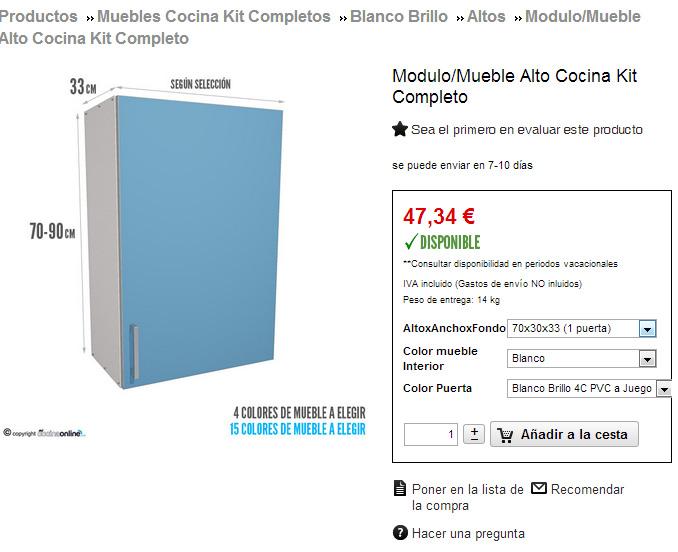 muebles de cocina en kit completos en nuestra tienda online de cocinas