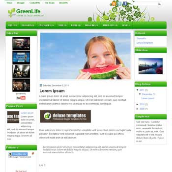 GreenLife blogger template. template blogspot magazine style. download template nature blogger template