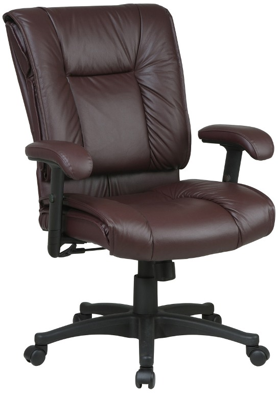 Mid Back Burgundy Color Executive Leather Office Chair
