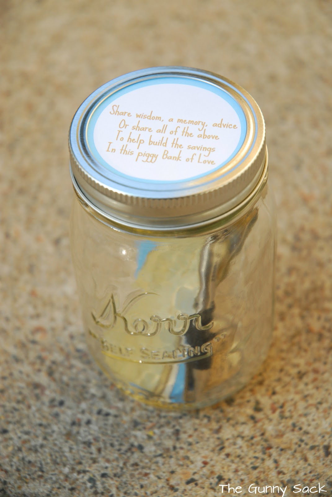 Piggy bank of love a piggy bank to treasure the gunny sack for Mason jar piggy bank