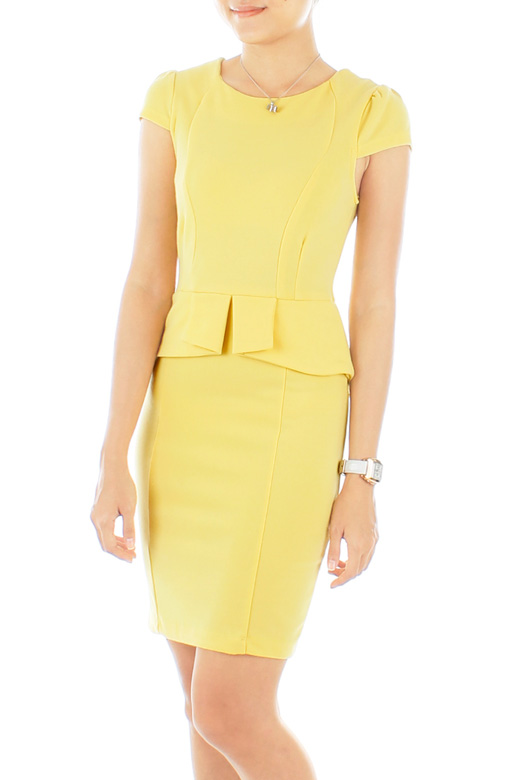 Origami Peplum PETITE Dress in Pastel Yellow