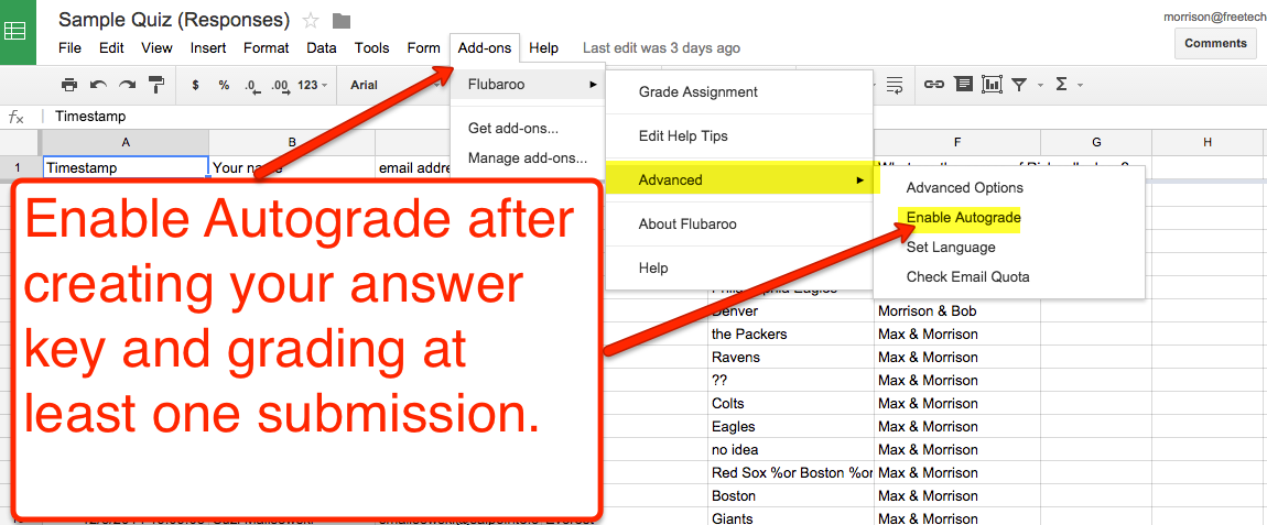 Enable Automatic Grading of Quizzes With Flubaroo for Google Sheets