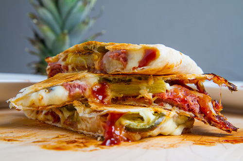... Bacon and Pineapple Quesadillas (aka BBQ Hawaiian Pizza Quesadillas