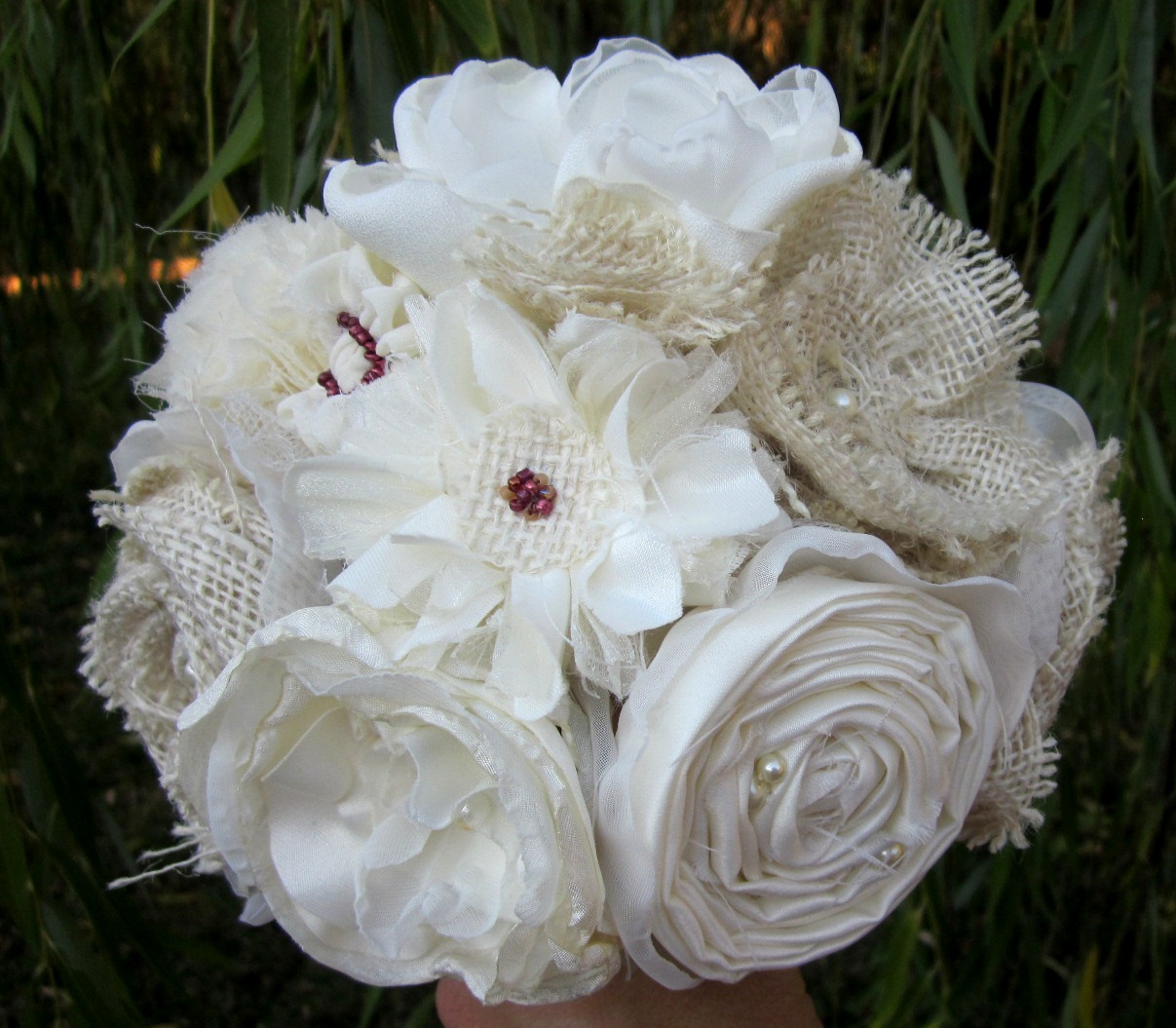 Emily Rose Blossoms: Rustic Fabric Flower Bouquet Country Burlap