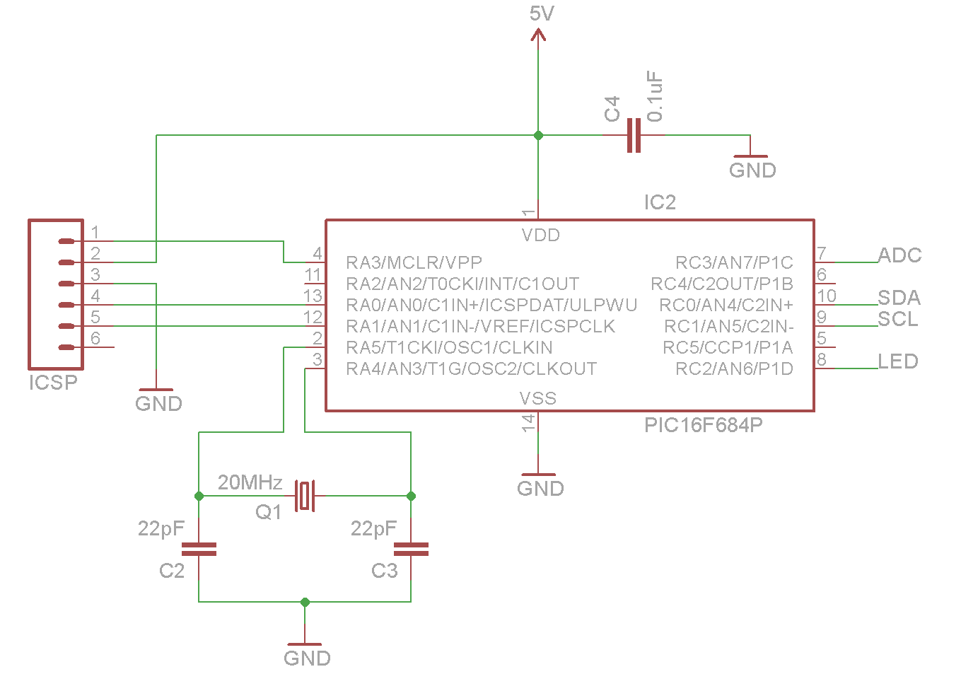 Bored Me Pic A Chip Any Circuit Schematic Electronics Voltage Regulator With Lt1086 You Can See Ive Added An Icsp Header For Programming The In So I Dont Have To Keep Pulling It Out Of Board Every Time Make Change