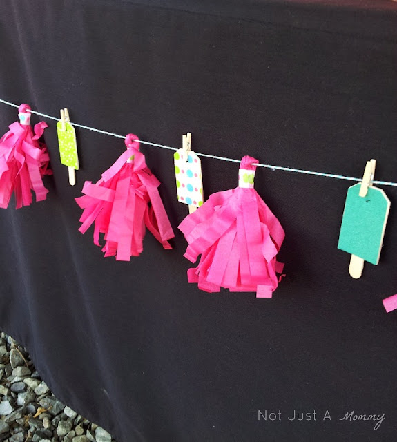Pop Up Popsicle Party wood tag garland