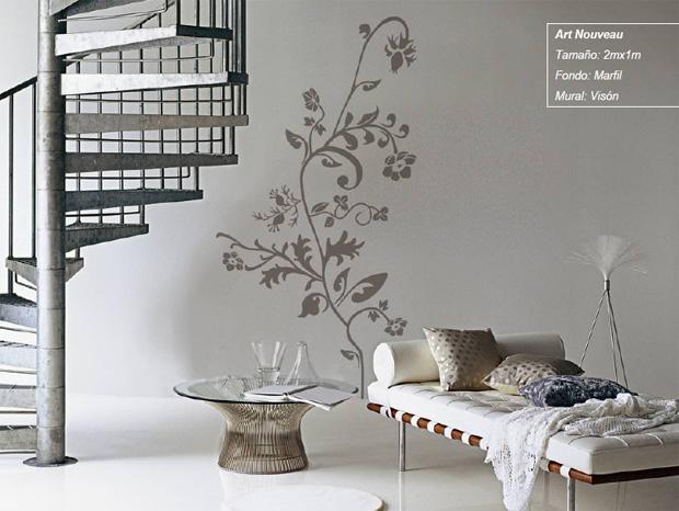 Decoraci n de interiores paredes con empapelado de flores for Como pintar un mural en una pared