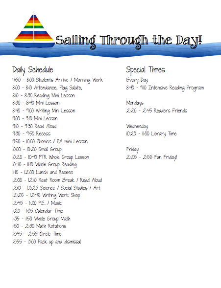 First Rate First Grade: Daily schedule!