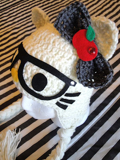 Hello Kitty nerd crochet hat with ears