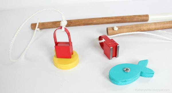 diy wood fishing game magnet detail