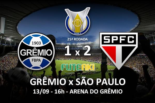 Veja o resumo da partida com os gols e os melhores momentos de Grêmio 1x2 São Paulo pela 25ª rodada do Brasileirão 2015.
