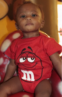 red M&M onesies, viktorviktoriashop.com