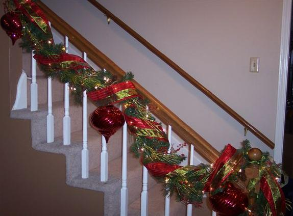 Christmas door how i do it southern fried gal for How to decorate a banister