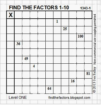 Common Worksheets squares from 1 to 100 : Find the Factors: Perfect Squares