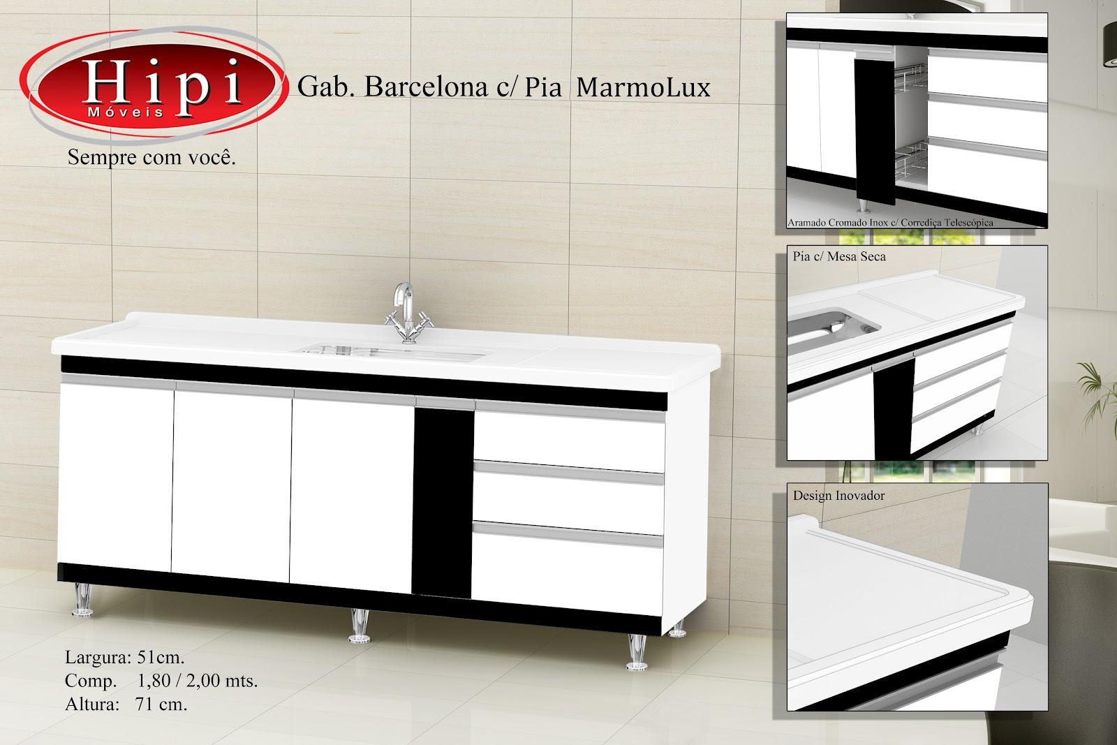Hipi: Cozinha Barcelona com Pia Marmolux #B5161C 1600 1067