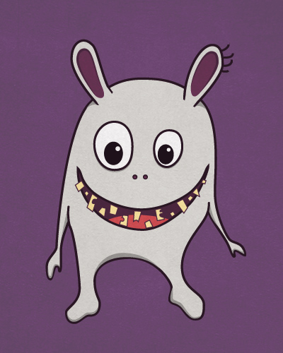 Funny crazy monster with cracked teeth