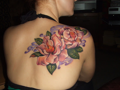 Color Flower Tattoo on Back