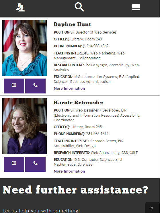 Screenshot of responsive directory listing content module.