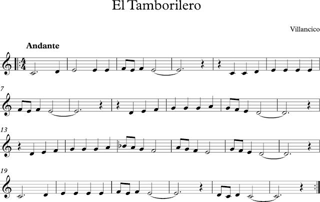 El tamborilero partitura de villancico de navidad for Piano anteriore del camino