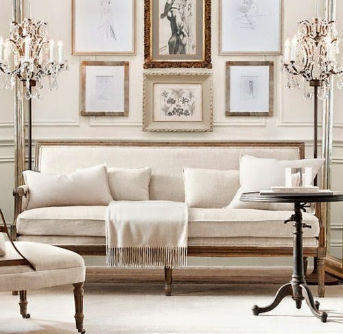 white settee gold gallery wall art restoration hardware