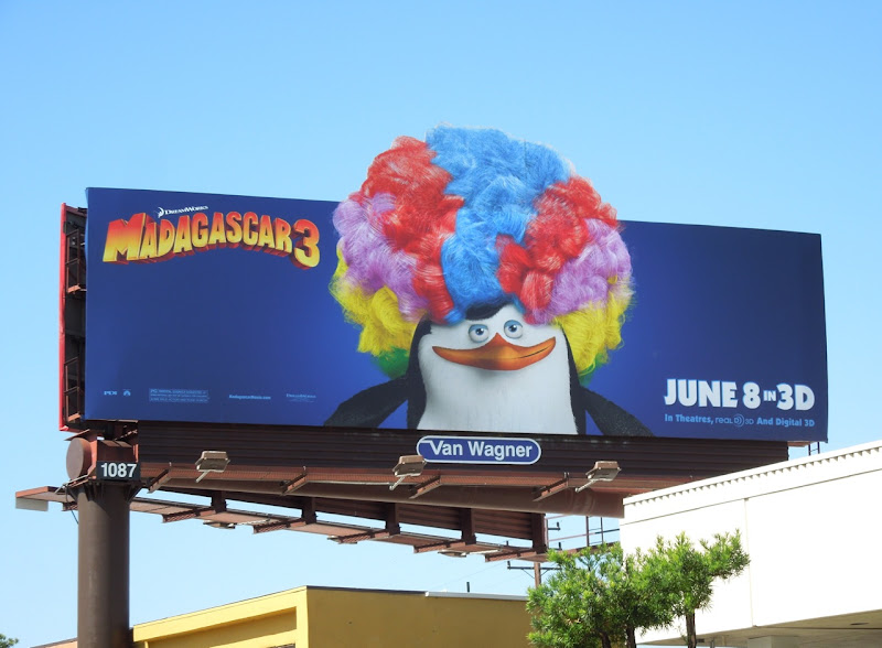 Madagascar 3 Wig Out Penguin billboard