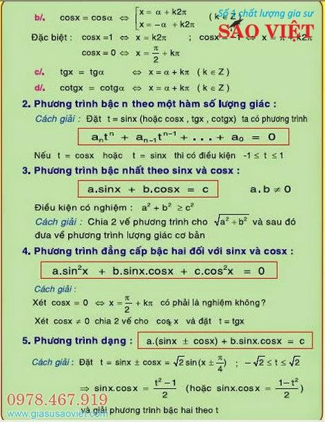 4 dạng phương trình lượng giác thường gặp trong các đề thi: Phương trình cơ bản, phương trình bậc n theo một hàm số lượng giác, phương trình bậc nhất theo sinx và cosx, phương trình đẳng cấp bậc hai đối với sinx và cosx.
