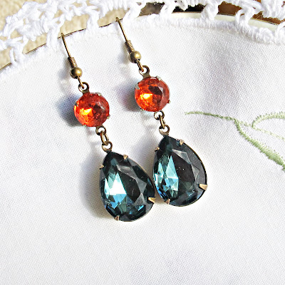 image kiahla earrings vintage glam it up range two cheeky monkeys jewellery jewelry hyacinth orange montana blue teardrop dangle