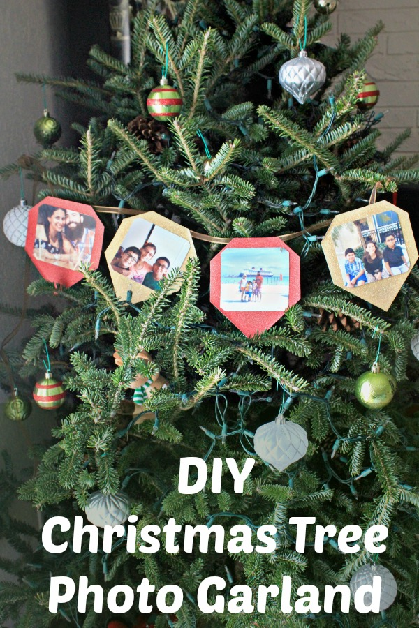 Do you include personalized items on your Chritsmas tree? How about an easy DIY Christmas Tree Photo Garland to share your favorite memories from the past year?  #SaveYourMemories #ad