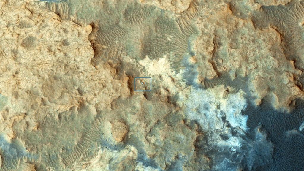 El rover Curiosity visto desde la MRO
