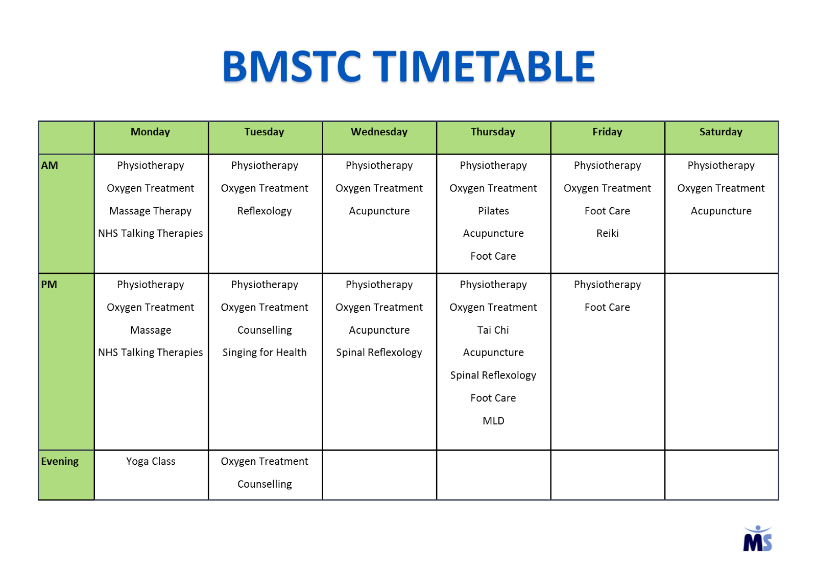 Pip 39 s blog bmstc therapy timetable 2016 click table to for Rtu 4th sem time table