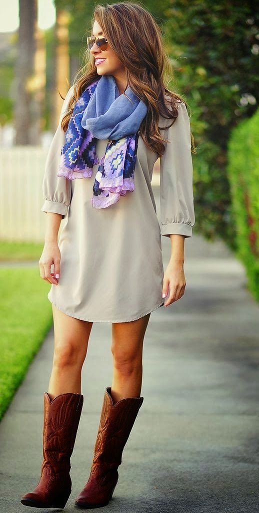 Light Grey Mini Dress, Scarf, Long Boots Street Style.
