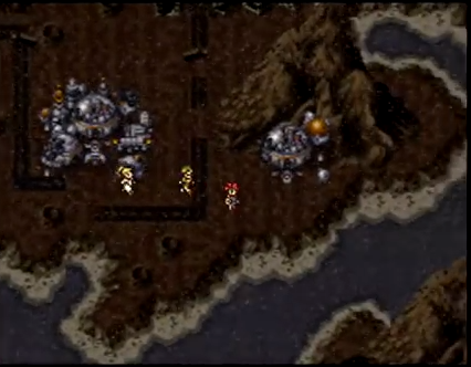 Crono and the party on the world map, walking near Arris Dome in a blasted landscape