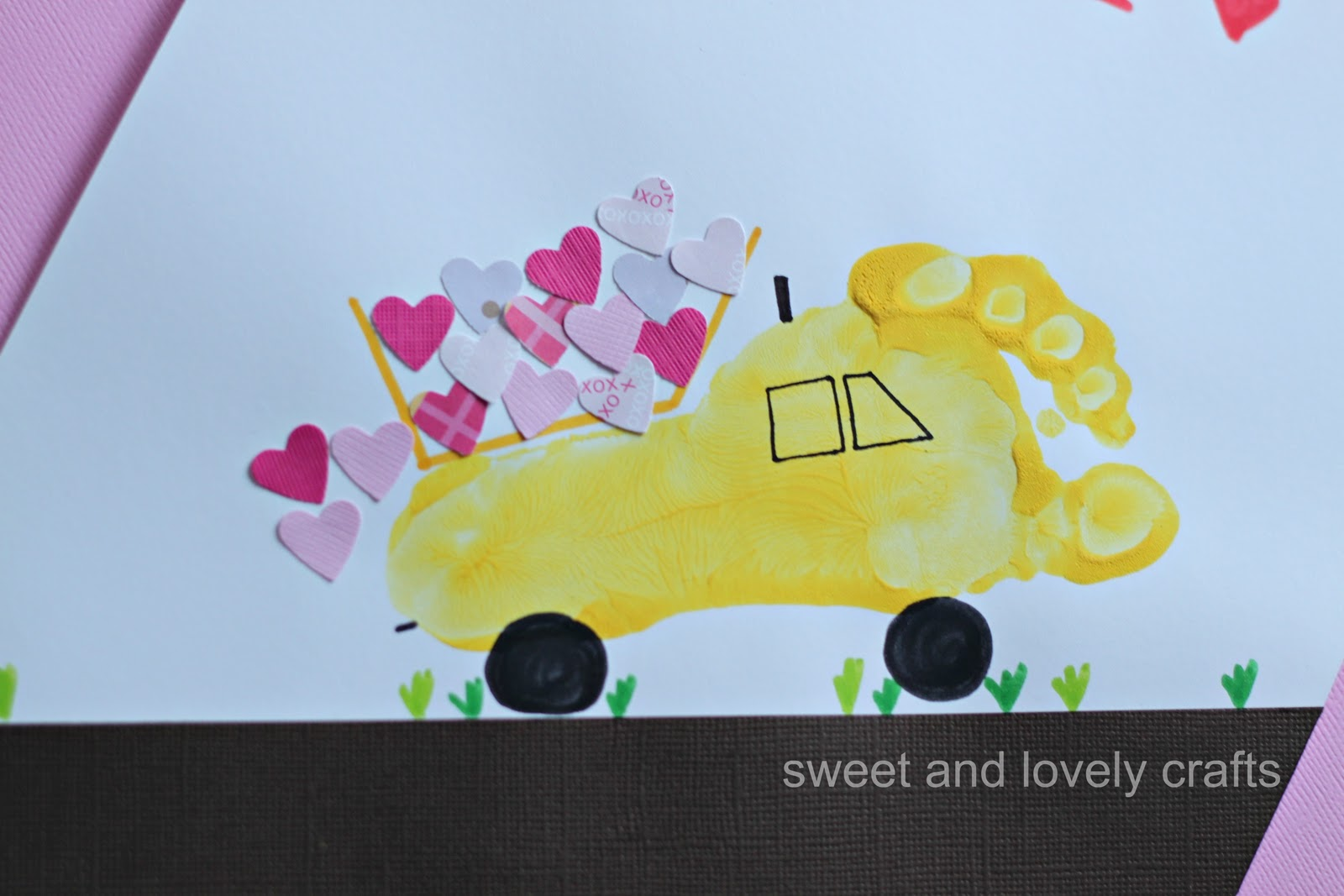 sweet and lovely crafts: footprint dump truck carrying love