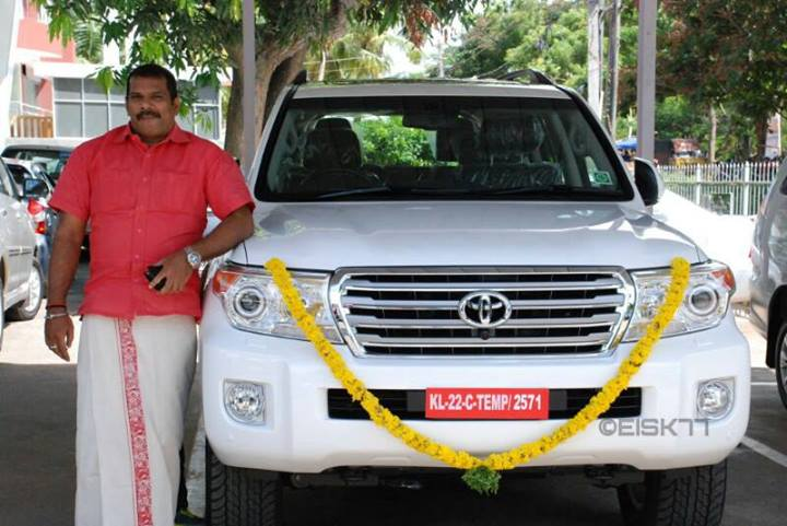 Actor Biju Pappan With His Toyota Land Cruiser Celebrity
