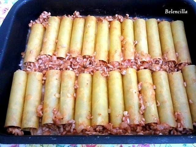 Canelones sin cocci n con carne gratinados con queso - Canelones en microondas ...
