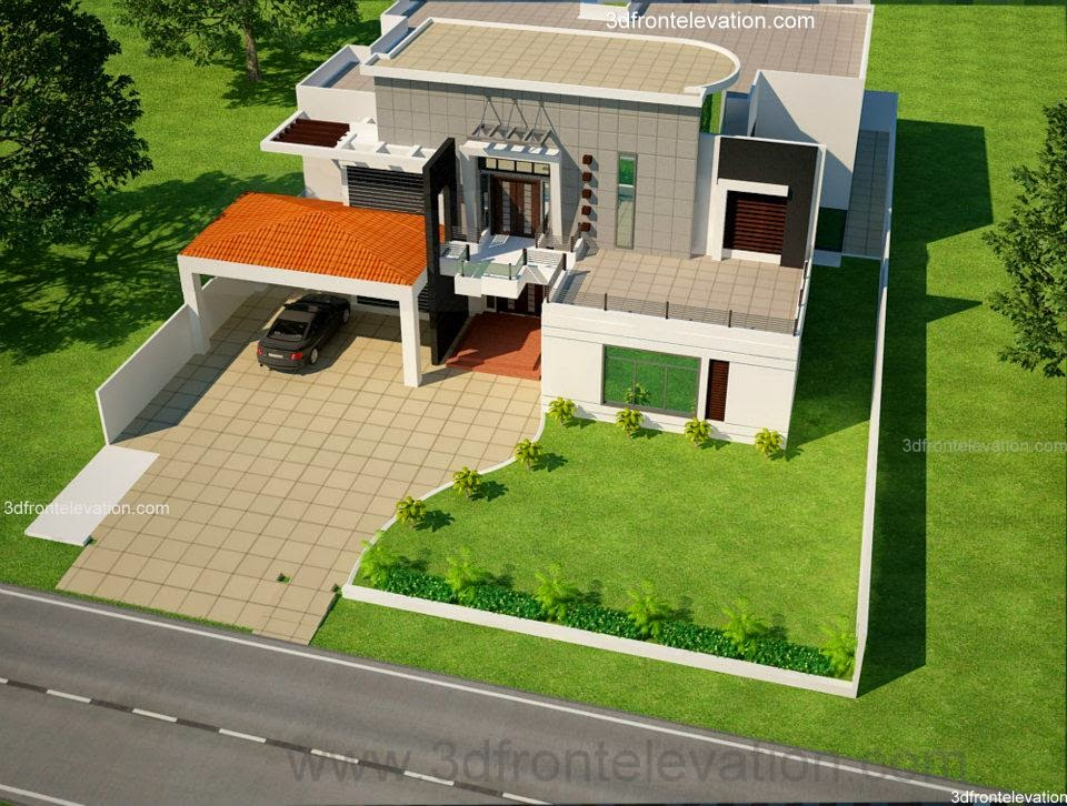 3d Front 2 Kinal House Plan Design In