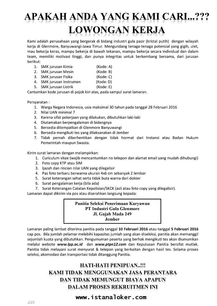 PT. Industri Gula Glenmore (PTPN XII dan XI)