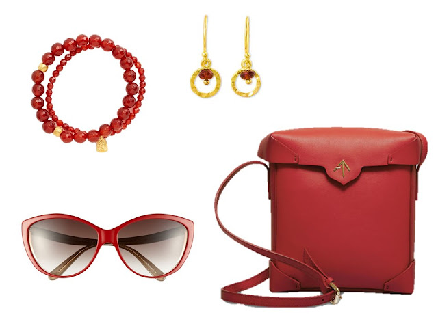 "red ""accessory family"" of bracelet, earrings, sunglasses and purse"